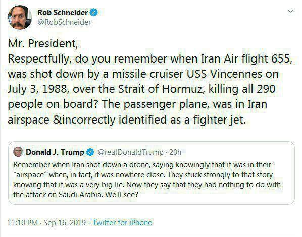 پاسخ هنرپیشه معروف آمریکایی به توئیت ترامپ