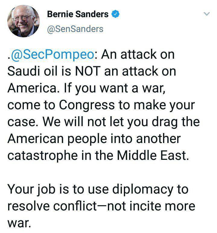 پاسخ تند برنی سندرز به ادعای پمپئو علیه ایران