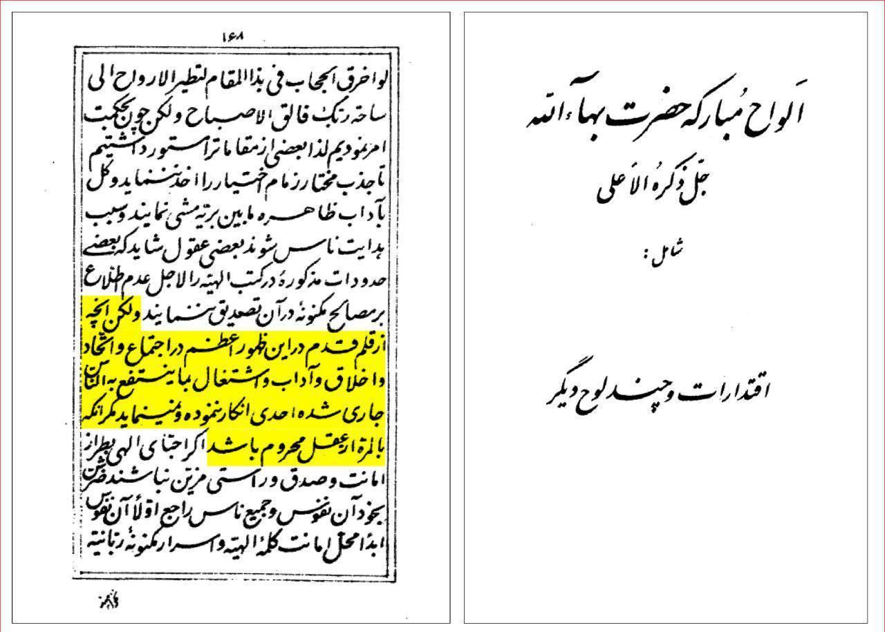 میرزا حسینعلی نوری (ملقب به بهاء الله): هرکس بهائیت را قبول نکند بی عقل است!