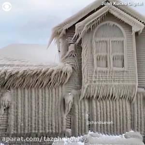 خانه های یخ زده در یک روستا در حوالی هامبورگ آلمان در شبکه های اجتماعی بازتاب گسترده داشته
