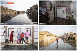 فاضلاب در خیابان ها و خانه های  شهرک بسیج کوت عبدالله از توابع شهرستان کارون استان خوزستان