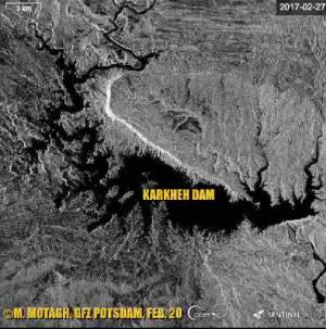 تصاویر ماهواره ای سنتینل از مخزن آب سد کرخه