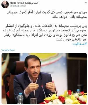 مهدی میراشرفی رئیس کل گمرک ایران: آمار گمرک همچنان محرمانه باقی خواهد ماند