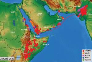 نقشه کانونهای بحرانی حضور ملخها در منطقه غرب آسیا و شمال آفریقا