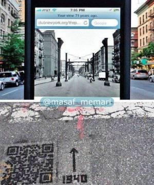 شهرداری نیویورک روی زمین کدهایی قرار داده که با اسکن آن میتوانید عکس گذشته خیابان را ببینید.