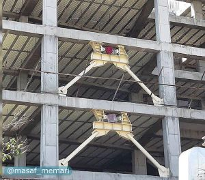 استفاده از دامپرهای لرزه ای در ساختمان بتنی که فضای کمتری نسبت به دیواره های برشی دارد.